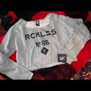 NWT large young & reckless cropped sweatshirt